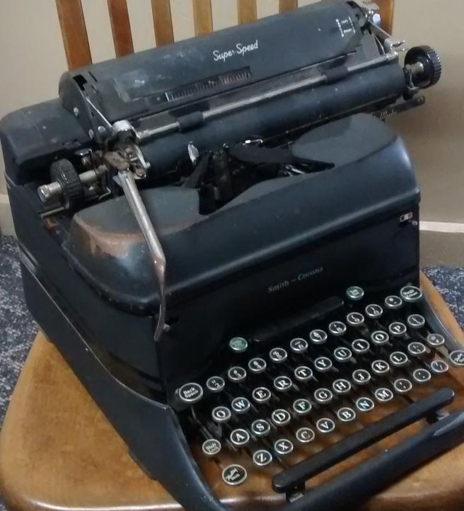 Tisha Martin vintage typewriter 1940s WWII reporter desk chair