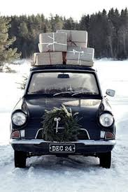 vehicle with gifts on top